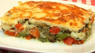 Lasaña de berenjenas con verduras receta fácil