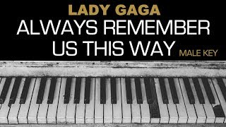 Lady Gaga - Always Remember Us This Way Karaoke Acoustic Piano Cover Instrumental Lyrics MALE KEY