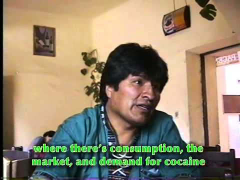 Evo Morales, interviewed in a coffee shop