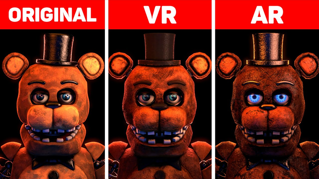Five Nights at Freddy's Withereds Original, VR & AR Animatronics Comparison