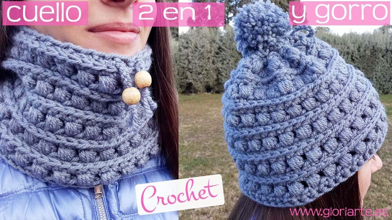 2 en 1 Cuello y gorro de ganchillo a la vez. Scarf and crochet hat at the  same time. e889d18b789