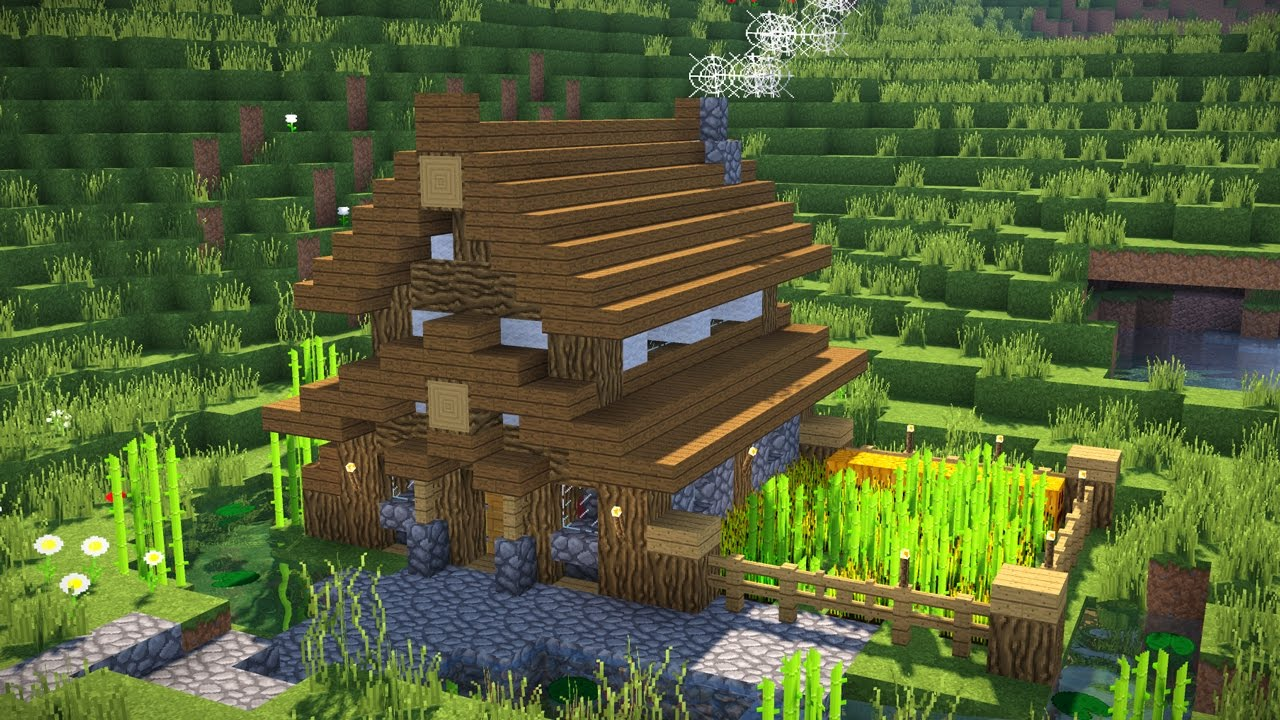 Minecraft how to build a small modern house tutorial for How to build a mansion