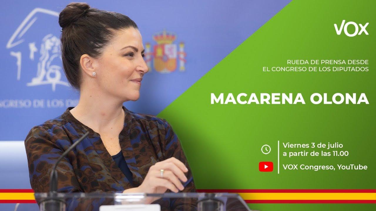 Rueda de Prensa de Macarena Olona desde el Congreso de los Diputados