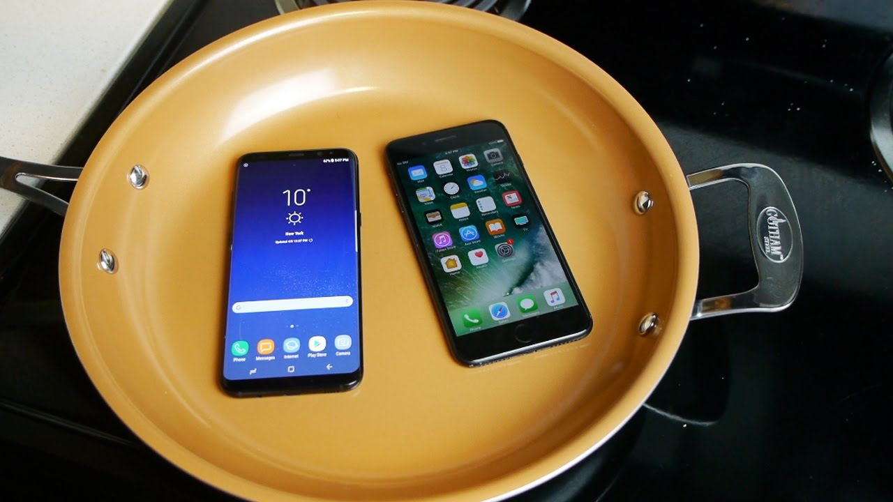 samsung galaxy s8 vs iphone 7 plus boiling hot water test youtube. Black Bedroom Furniture Sets. Home Design Ideas