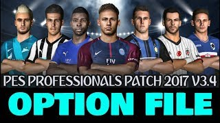 Option File Professionals  Patch  v 3.4 DOWNLOAD PES 2017 PC