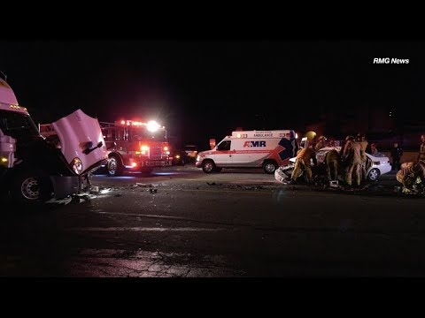 Rialto: Major Injury Car Crash VS Big Rig with Physical Extrication