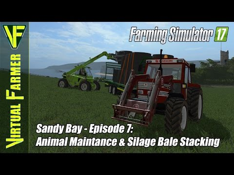 Let's Play Farming Simulator 17 - Sandy Bay, Episode 7: Animal Maintanence & Silage Bale Stacking