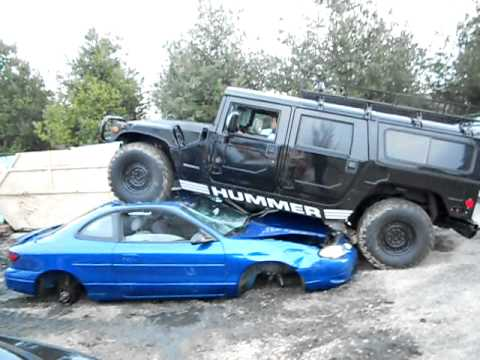 Hummer H1 Running Over Cars Youtube
