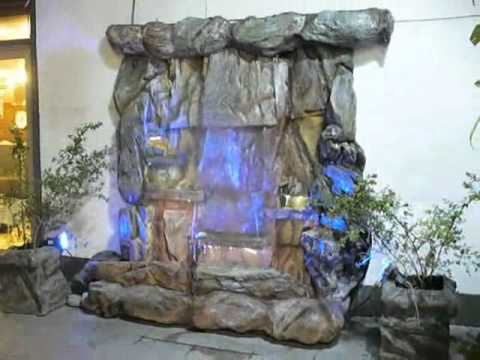 diseño de jardines cascada artificial luminosa de rocas - YouTube