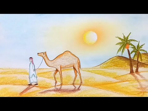 How to draw  scenery of Desert step by step
