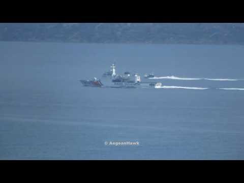Turkish Coast Guard TCSG 702 Guven and TCSG 902 outside Cesme port.