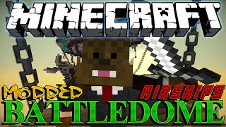 AIRSHIP (AIRPLANE) in Minecraft MODDED BattleDome (Archimedes Mod) Part 1 of 3