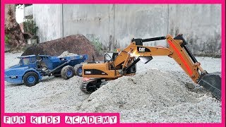 Construction trucks for kids | Excavator working with Truck, Dump Truck | Videos for children