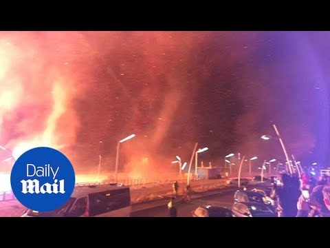 'Firenado' breaks out on a Dutch beach during NYE party