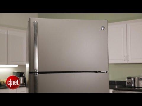 A slick slate finish on this GE fridge