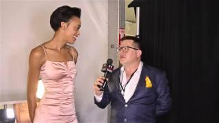 Model Devyn Abdullah backstage at David Tlale Show MB NYFW