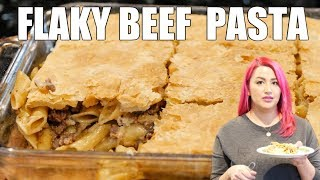 GROUND BEEF PASTA WITH CREAMY ONION SAUCE WITH A LAYER OF PASTRY PUFF FROM THE FREEZER ISLE