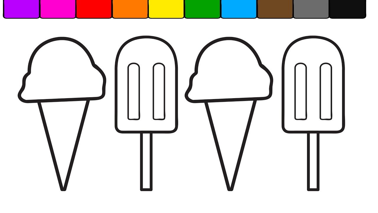 Learn Colors for Kids with this Ice Cream Popsicle Coloring Page ...