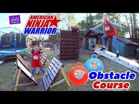 DAD BUILDS HUGE WOODEN AMERICAN NINJA WARRIOR JUNIOR KIDS BACKYARD OBSTACLE COURSE! SIS VS SIS!