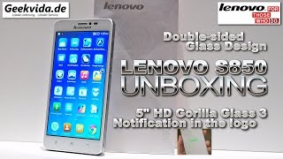 Lenovo S850 [UNBOXING] 5' HD IPS Gorilla Glass 3, Double Sided Glass, Notification Logo, MTK6582
