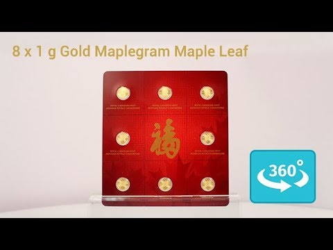 8 x 1 Gramm Gold MapleGram in 360° Ansicht
