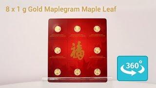 8 x 1 Gramm Gold MapleGram in 360° Ansicht
