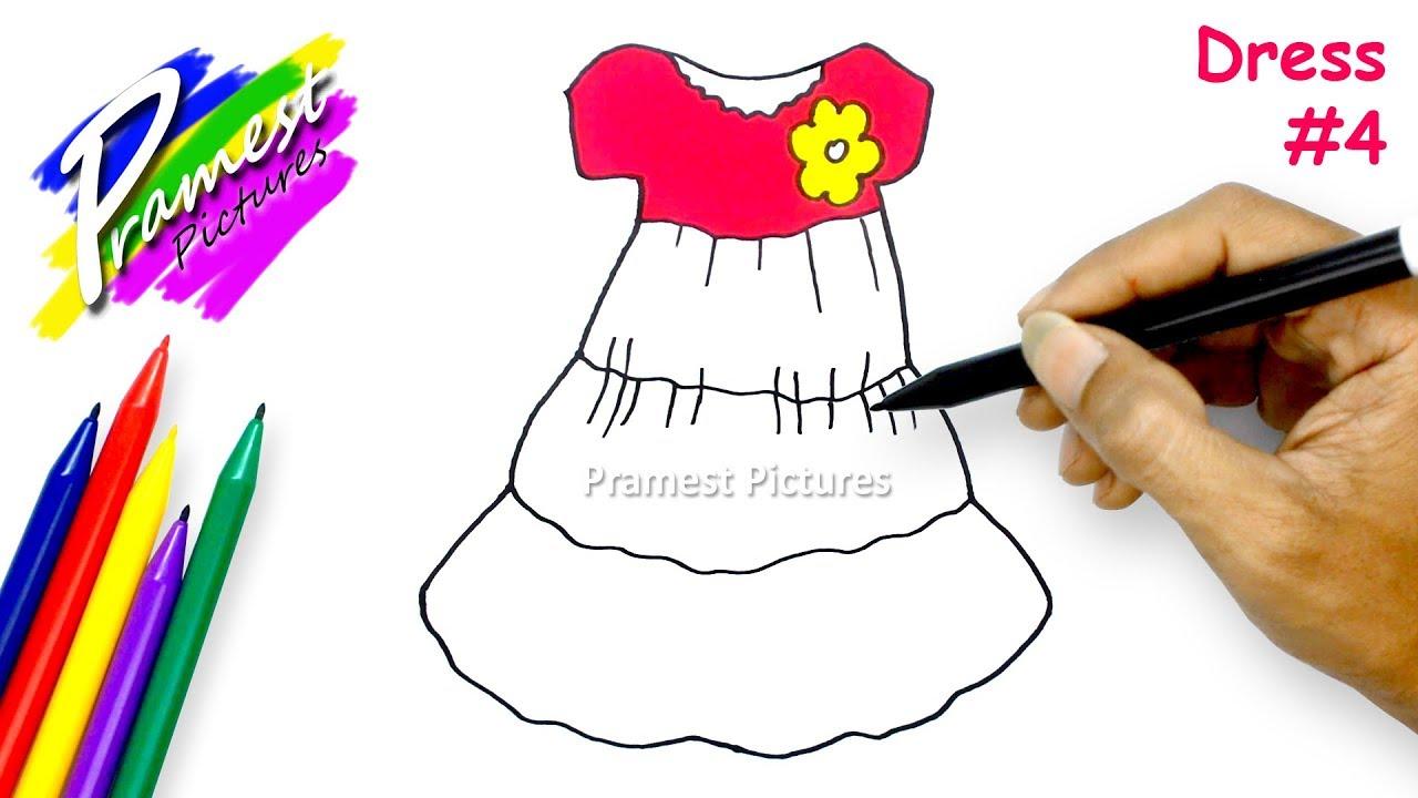 Gaun 4 Belajar Menggambar Mewarnai Gambar Baju Untuk Anak Tk Youtube