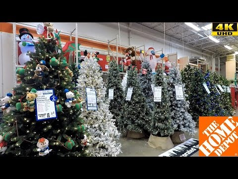CHRISTMAS 2018 AT HOME DEPOT - CHRISTMAS TREES INFLATABLES ORNAMENTS DECORATIONS DECOR SHOPPING 4K
