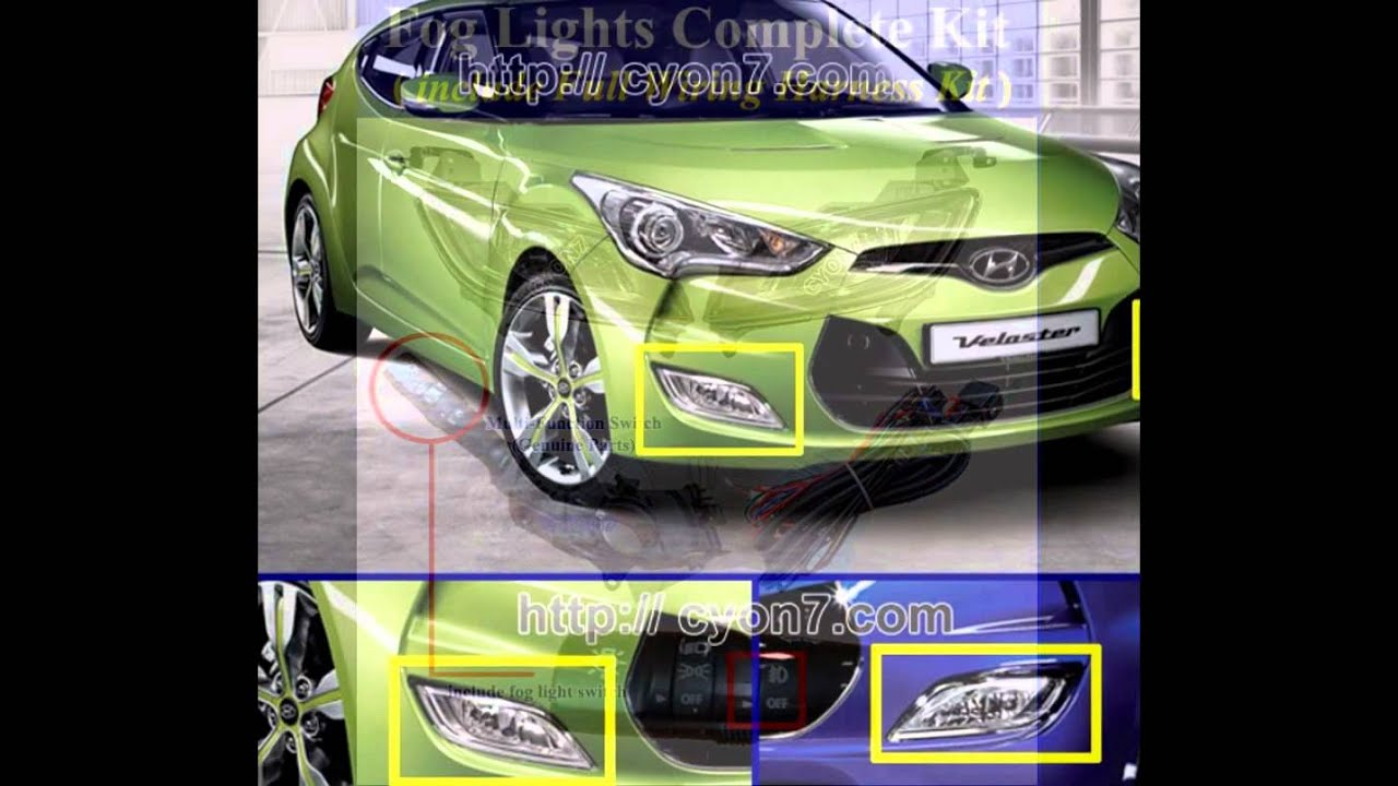 2013 2017 hyundai veloster fog light lamp complete kit wiring harness mf switch [ 1280 x 720 Pixel ]
