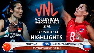 Zhu Ting vs Nataliya Goncharova | China vs Russia | Highlights | VNL 2021 (HD)