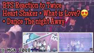 [181106]BTS Reaction to Twice(트와이스) - Heart Shaker + What is Love? + Dance The night away @ MGA 2018