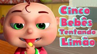 Cinco bebês tentando limão I canção de degustação de limão I Canções Infantis I Videogyan Português