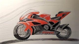 как нарисовать мотоцикл 1