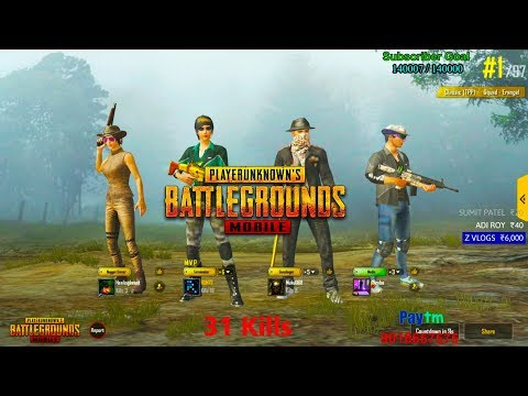 [Hindi] PUBG Mobie | 31 Kills(Squad) Winner Winner Chicken Dinner