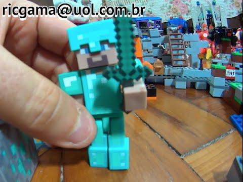 Minecraft Lego Jogo Game Steve Boneco Armadura Diamante X