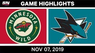 NHL Highlights   Wild vs. Sharks – Nov. 07, 2019