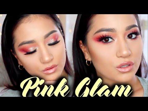 PINK GLAM MAKEUP TUTORIAL Glitter Half Cut Crease