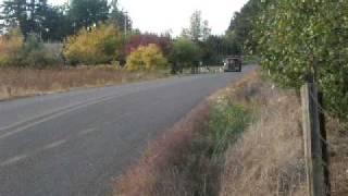 dump truck pulling up, jake brake