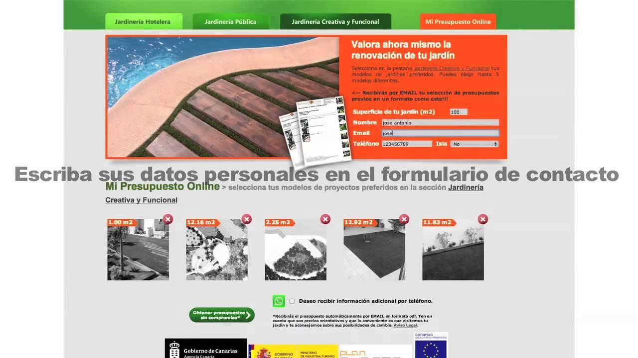 Pedir presupuesto online jardiner a 7 islas youtube for Jardineria online