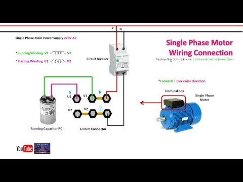 Single Phase Motor Wiring Connection | Capacitor | Urdu Hindi - YouTubeYouTube