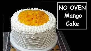No Oven Mango Cake | Chiffon Cake with stabilized Whipped cream Frosting | improvised oven