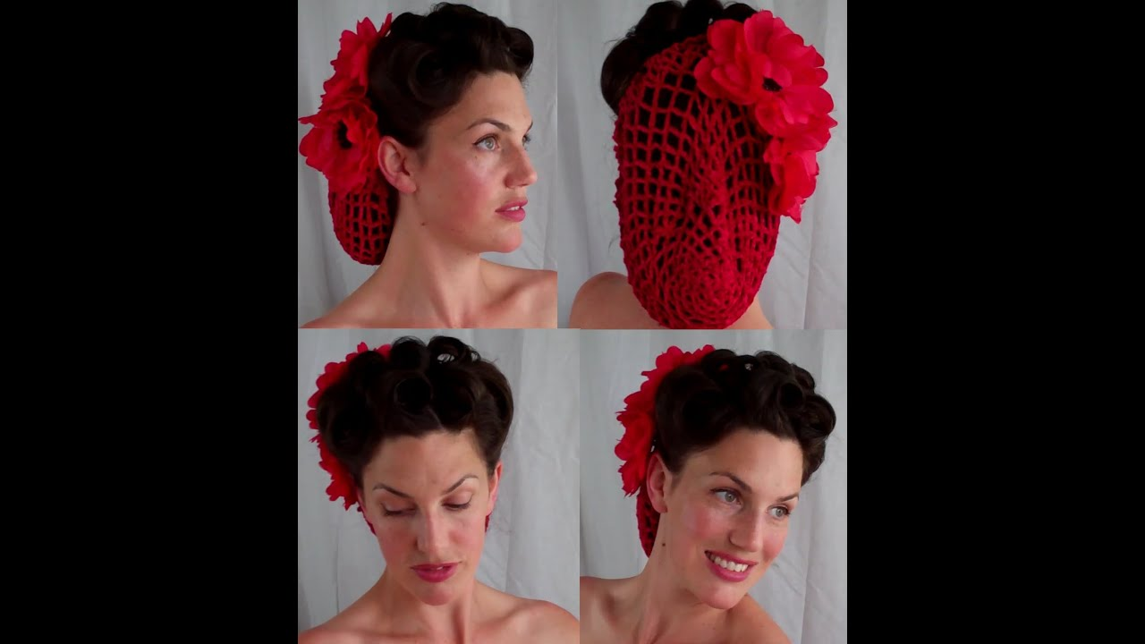 HOW TO Retro VINTAGE Inspired Snood Updo Hairstyle (40's
