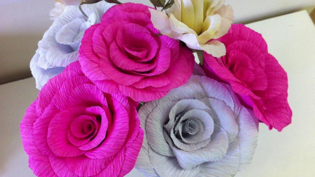 Como Hacer Flores De Papel Crepe Youtube - Hacer-flores-con-papel