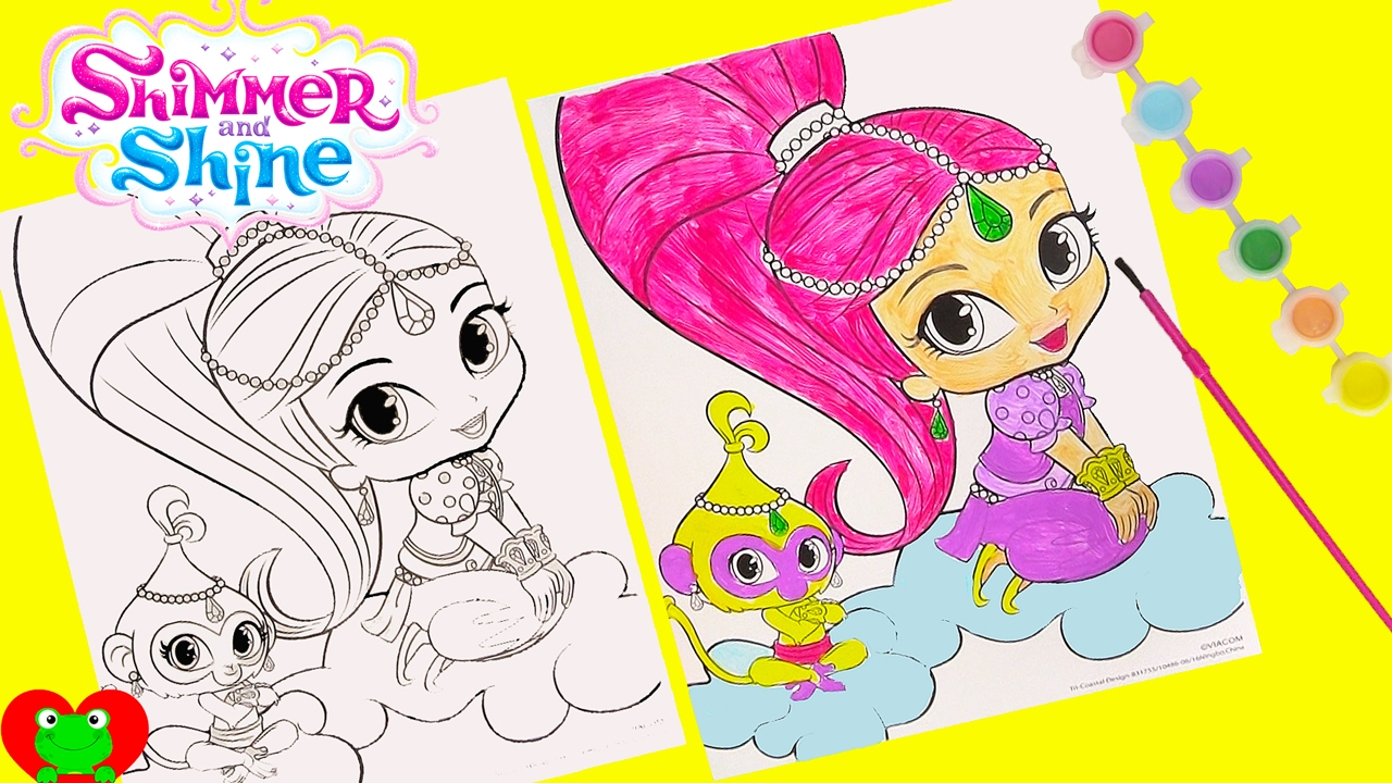 Coloring pages shimmer and shine - Shimmer And Shine Coloring Page Water Color Painting And Surprises