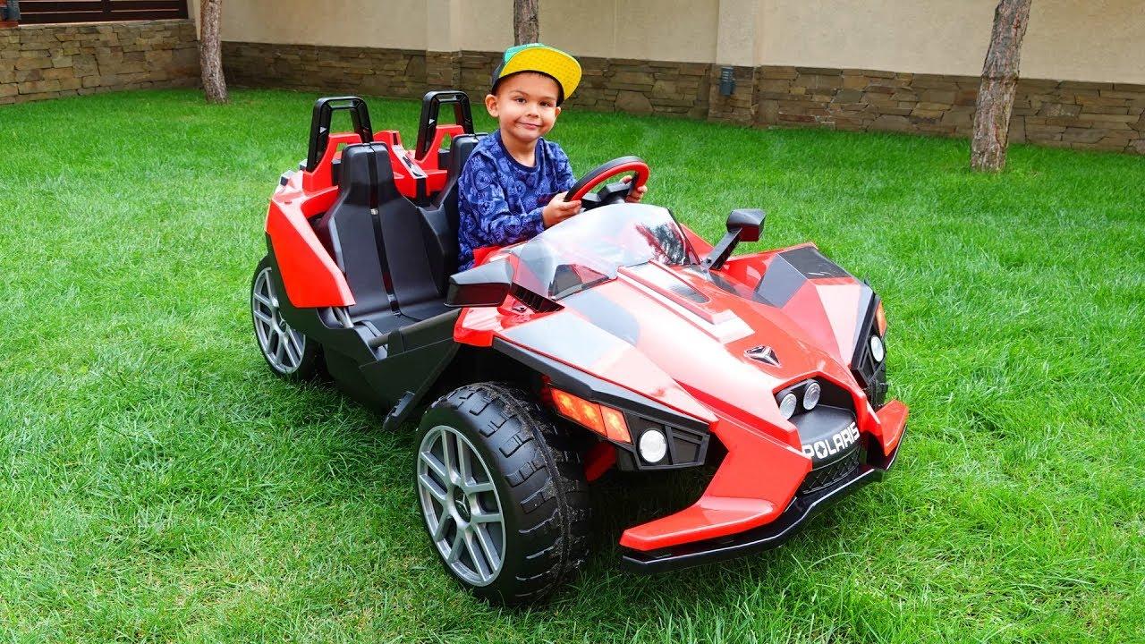 Unboxing super sport car power wheels Polaris Slingshot