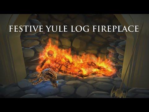 Festive Yule Log Fireplace