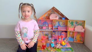 Dominika play with Baby doll and toys house  for kids