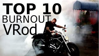 ? TOP 10 Harley Davidson V Rod VRSCD muscle BURNOUT - CustomBike Compilation