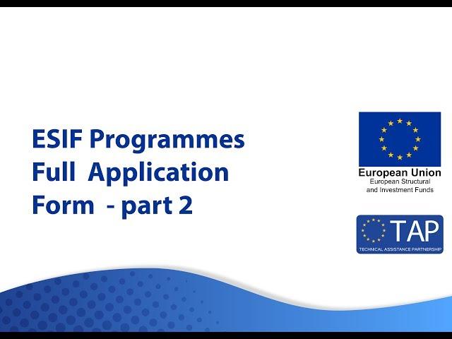 ESIF TAP -  Full Application Form Part 2