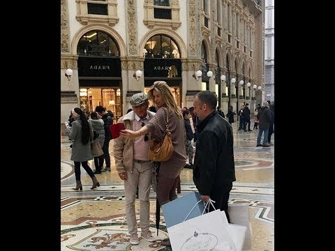 Rod Stew art and wife Penny take on Milan shopping scene